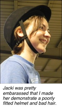 Improperly fitted                               helmet with bangs showing -- argh!